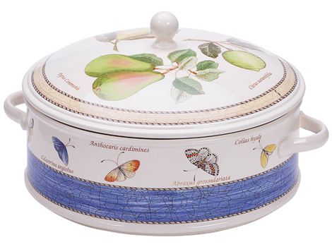 """#wedgwood """"Sarah's Garden"""". This casserole dish is rendered in simple, elegant earthenware and features a subtle pastel borders and lovingly hand-rendered botanical motifs. #thomasjewellers"""