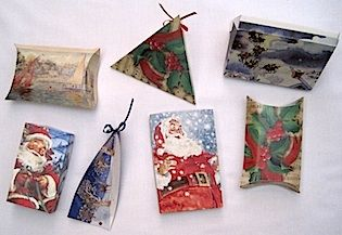 Christmas Card Boxes.  Lots of box shapes from old Christmas cards.