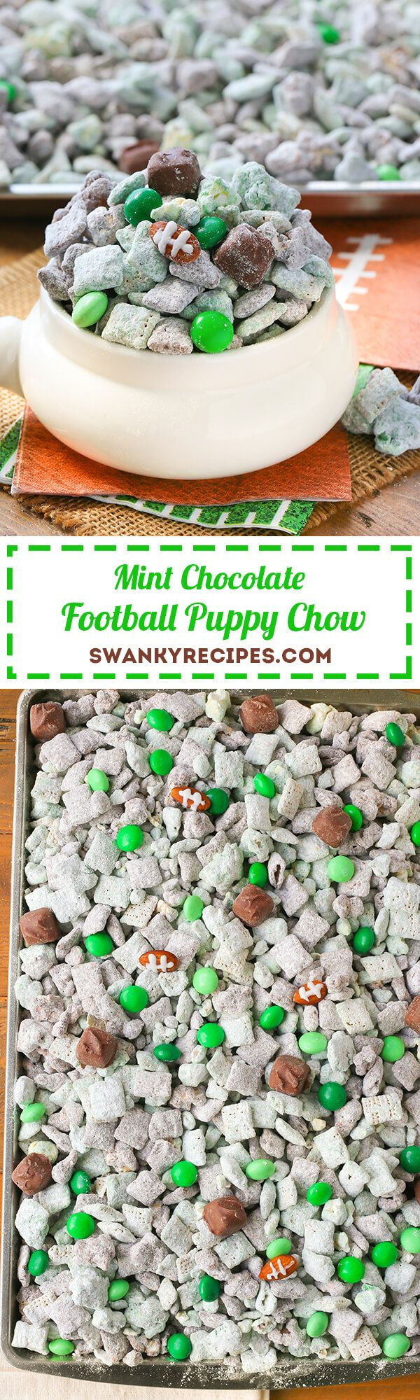 Mint Chocolate Football Puppy Chow - Kick off game day with this easy to make snack. Everyone will love this classic puppy chow with mint and chocolate. #AllStarSnackBar #ad