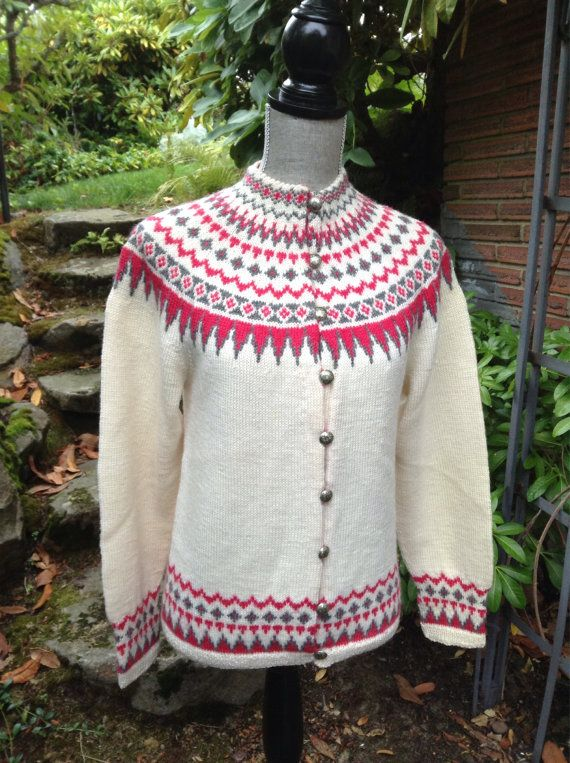 Fair Isle Norwegian wool sweater by WILLIAM SCHMIDT of Oslo-S on Etsy, $168.00