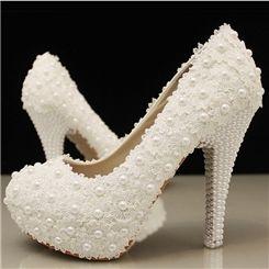 ファッション白いレースラインストーンパールウェディングシューズ