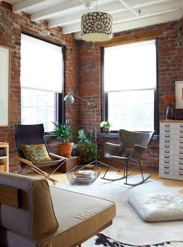 Exposed walls: Modern Furniture, Dreams Houses, Living Rooms, Brick Exposé, Offices Design, Interiors Design, Exposed Brick, Expo Brick, Boho Style