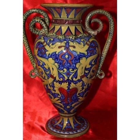 Vaso in maiolica a lustro - C.S.U. Paolo Rubboli - Gualdo Tadino - primi '900