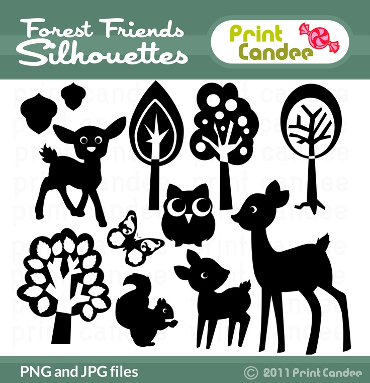 Forrest friends silhouettes - inspiration for DIY banner or decorations.