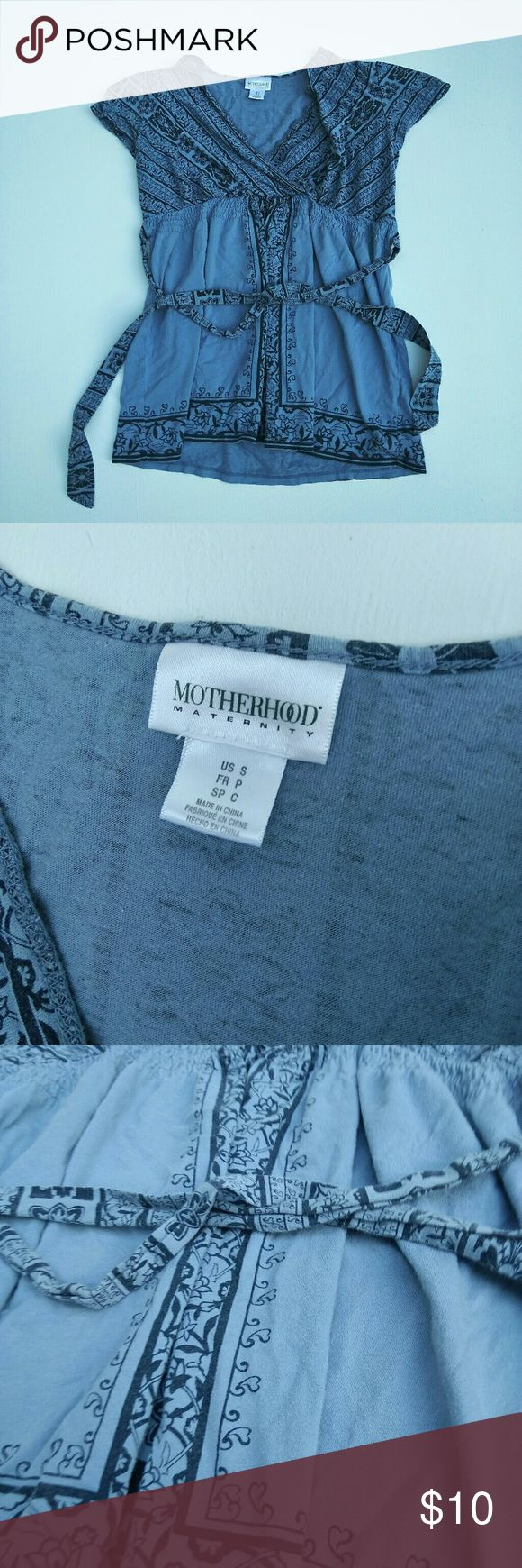 Motherhood Maternity Short Sleeve Shirt (Size: S) Blue motherhood maternity short sleeve shirt. In perfect used condition. No rips or stains. True to color Motherhood Maternity Tops Blouses