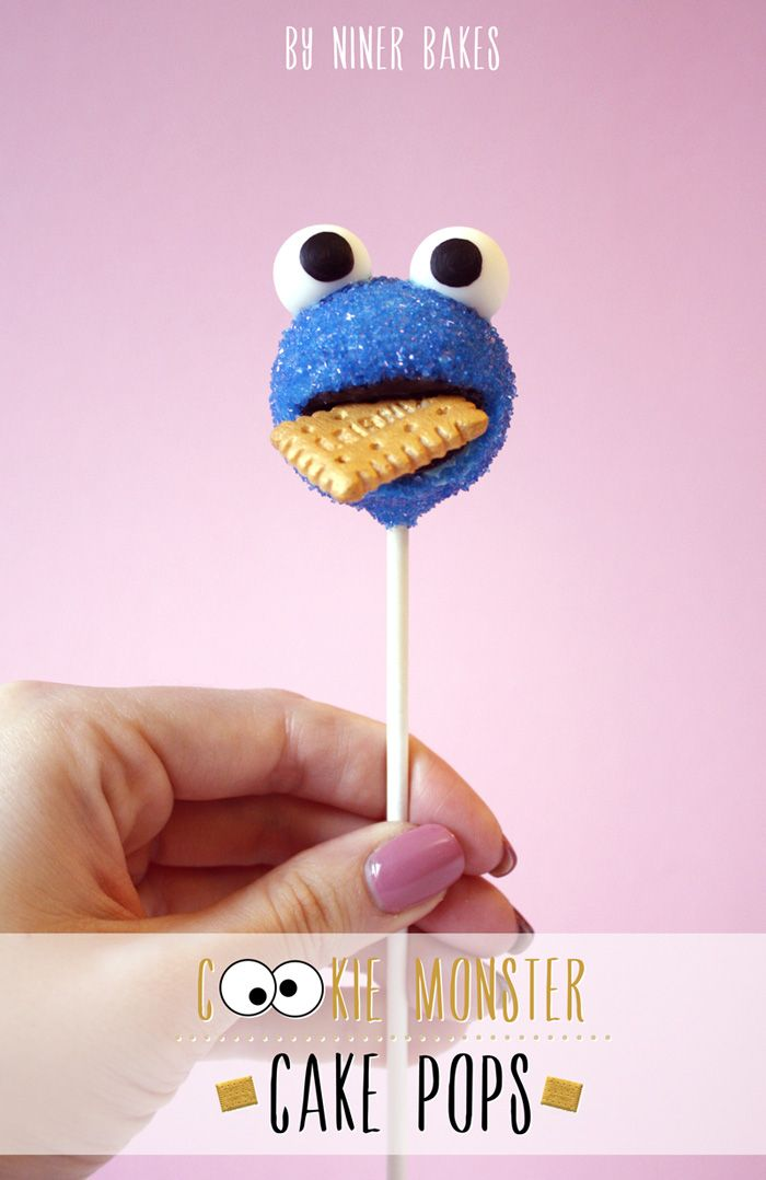 cookie monster cake pops #cakepops #cookiemonster #treat
