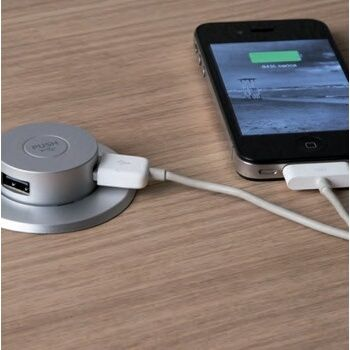 Silver Plastic Spring Loaded Pop-Up USB Charging Center w/ 2 USB 2.0A Charging Ports by Hafele | KitchenSource.com
