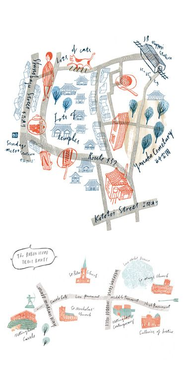 unglyproductions:  Hand illustrated maps by Masako Kubo. Found...