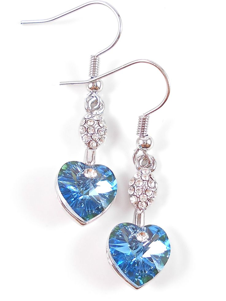Beautiful pale blue crystal hearts.
