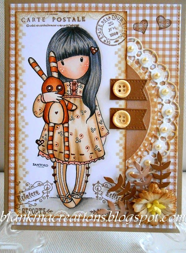 Blankina creations: Gorjuss in brown and white Loves Rubberstamps bloghop