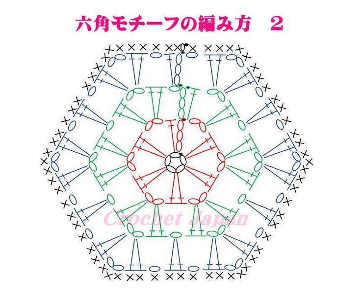 かぎ針で編む、六角のモチーフです。 くさり編み5目の輪の作り目から、長編み2目とくさり編みの模様です。 簡単な繰り返しの模様ですので、初心者さんにも編みやすいと思います。 4段目は、細編みで縁取りました。 1枚のままで、コースターに。 細編みの縁取りをしないで、マフラー、ブランケットにもつないで使えます。