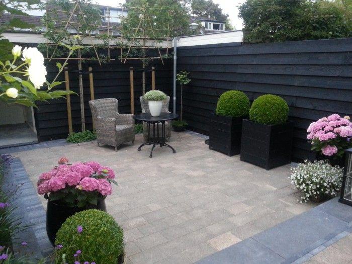 Opstap/verhoging aan het huis geeft een speels effect aan het tuintje. Schutting en schuur hebben we laten potdekselen en zwart laten verven voor een leuk geheel....