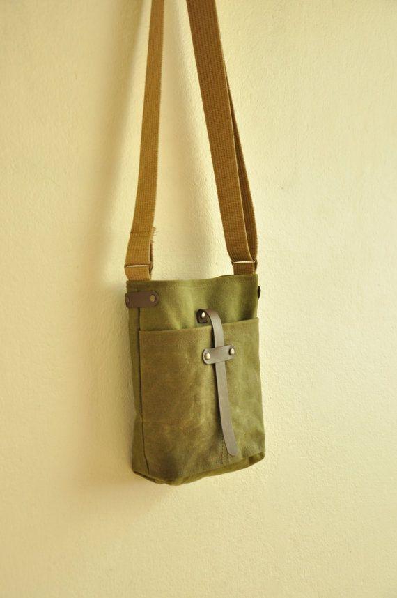 Waxed canvas  bag purse leather accessories military green messenger bag handbag shoulder bag mustard cotton straps. $65.00, via Etsy.