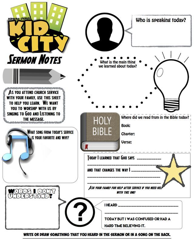 54 best Sermon Note Templates images on Pinterest | Kids church ...