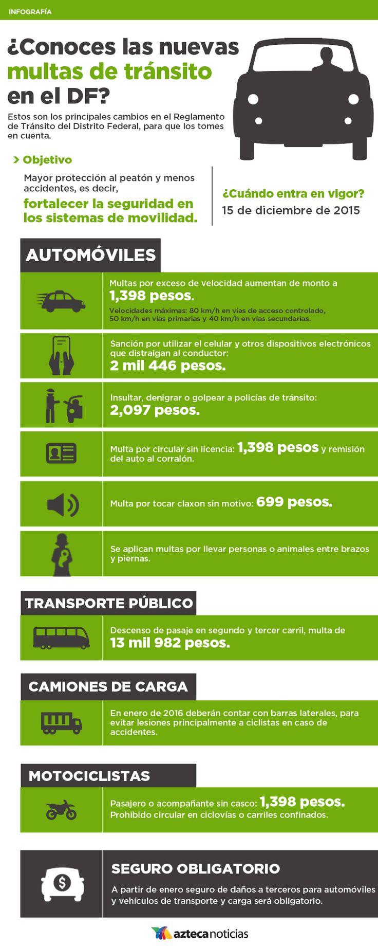 ¿Conoces las nuevas multas de tránsito en el DF? #infografia