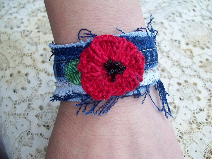 Denim Cuff Bracelet with crochet flower and  lace..... 9.00, via Etsy.