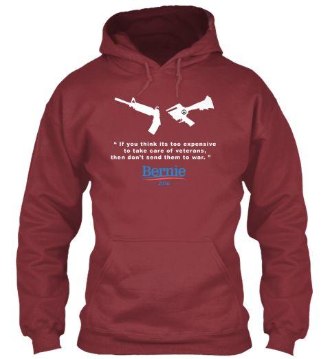 Peace Bernie Maroon T-Shirt Front