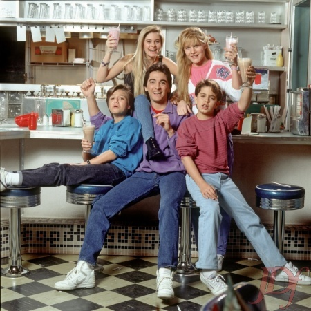Nicole Eggert, Josie Davis, Alexander Polinsky, Justin Whalin and Scott Baio in Charles in Charge.  Exclusively on josiedavisfans.com