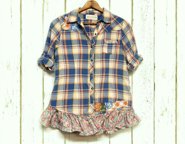 Grunge Flannel Shirt Shabby Boho Chic Gussied Up Flannel Shirt, Upcycled Clothing Free People Inspired by PrimitiveFringe on Etsy