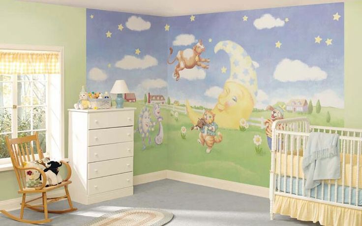 Nursery rhyme themed baby room nursery ideas pinterest for Baby mural ideas
