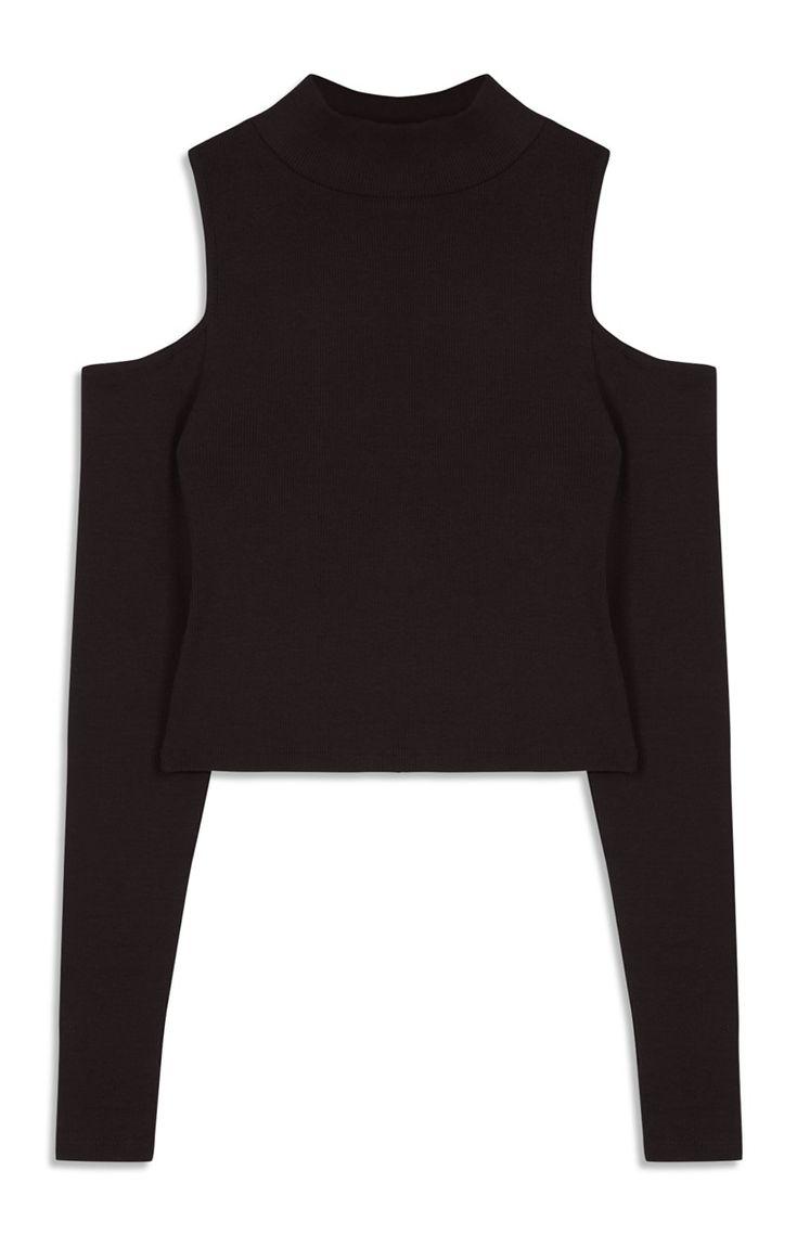 Primark - Black Cold Shoulder Long Sleeve Top