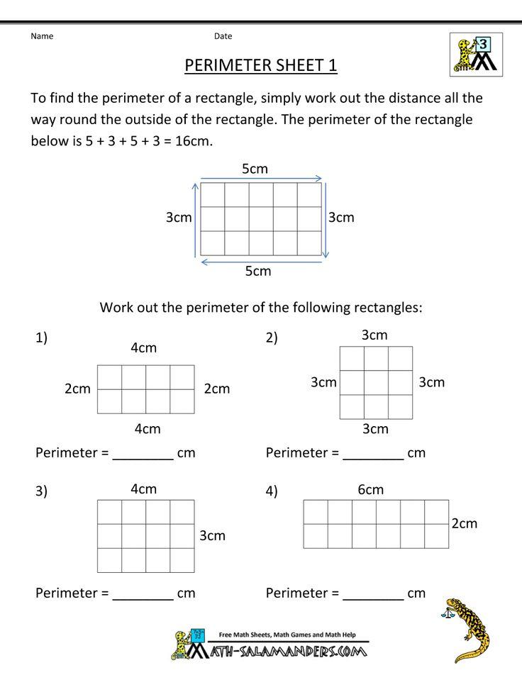 Perimeter Worksheets 3rd grade math worksheets, Area