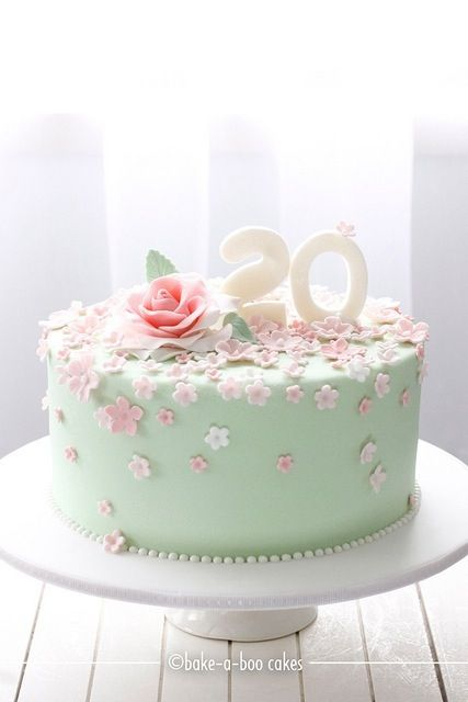 Mint Green with Pastel Pink and White Flowers Birthday Cake