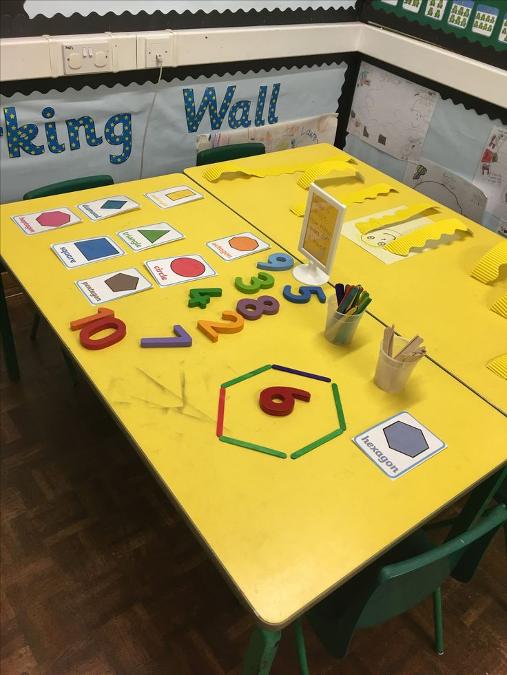 Choosing a shape and making it with lolly sticks - maths table