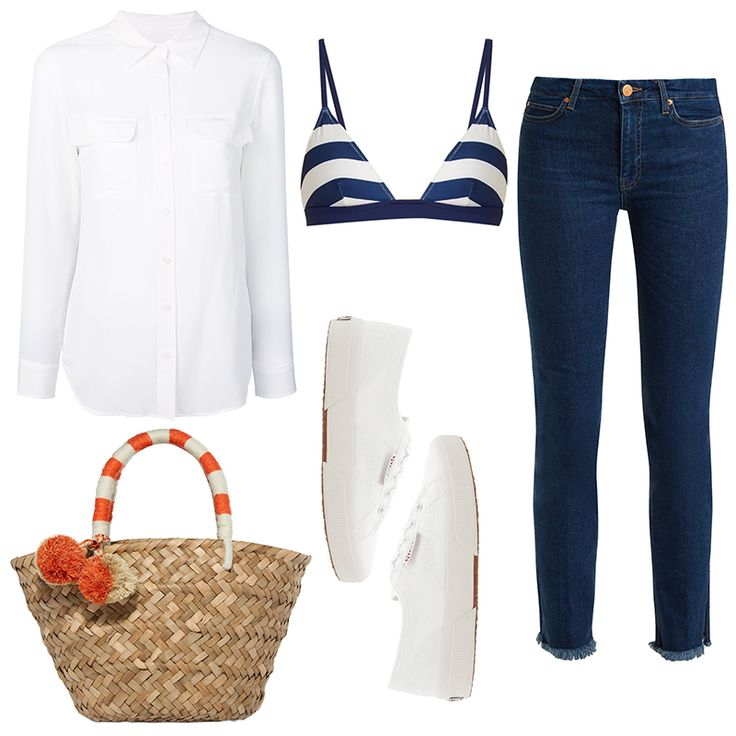 - Show off your favorite bikini with a button-down shirt layered over a pair of skinny jeans. This lookis not only comfy—it's also fitting for everything from the pool to the barafterward.