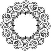 Indische Henna-Tattoo inspirierte Herz Formen Kranz mit Blätter-Elementtyp 2 — Stockvektor