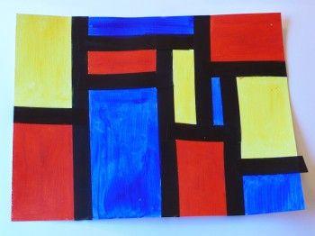 Piet Mondrian Art Lesson--discuss line, shape, and color