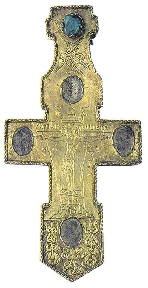 Крест-мощевик наперстный Новгород , 1566 - 1567 годы. Серебро, бирюза; скань, чернь, резьба, золочение.