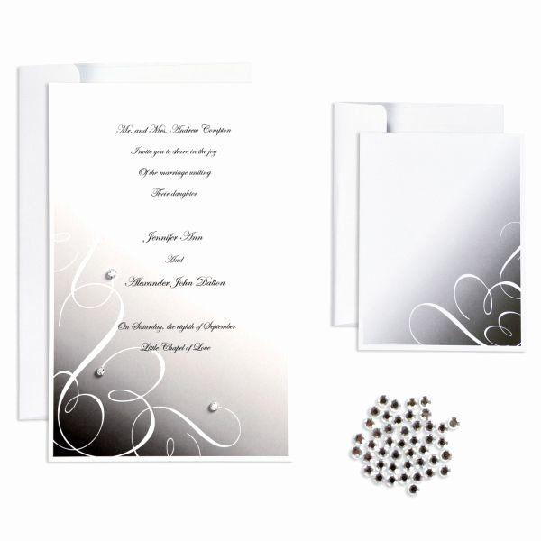 Party City Wedding Invitation Kits Lovely Black Rhinestone Swirl Printable Wedding Inv Wedding Invitation Kits City Wedding Invitations Wedding Invitations Diy