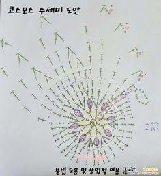 가을의 전령사 '코스모스 수세미'코바늘 손뜨개 수세미뜨기 도안 및 뜨는 방법 : 아이네스 창작도안얼마전 ...