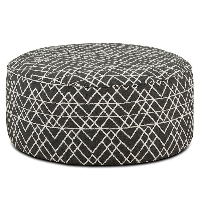 This Round Cocktail Ottoman In Hyphen Onyx Will Transform Your