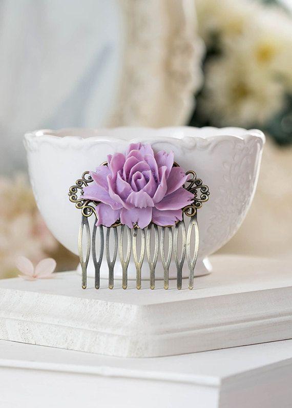Lavender Hair Comb Lavender Lilac Purple Wedding Hair by LeChaim