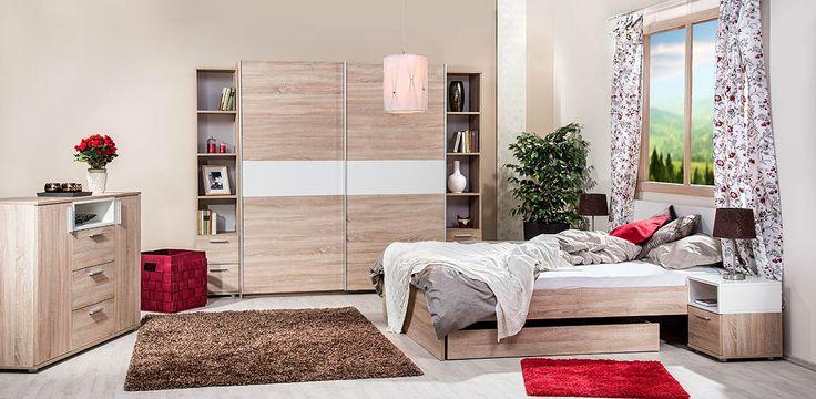 Box hálószoba világos sonoma tölgy - fehér színben.
