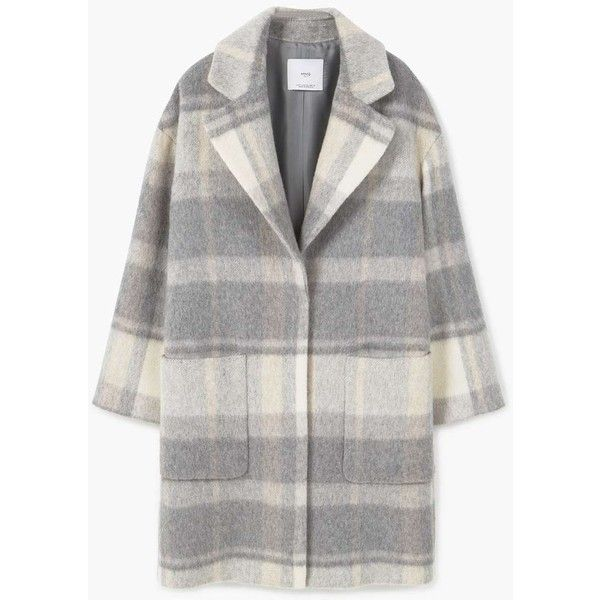 Check Wool-Blend Coat (10.325 RUB) via Polyvore featuring outerwear, coats, wool blend coat, mango coats, long lapel coat, long wool blend coat и checked coat