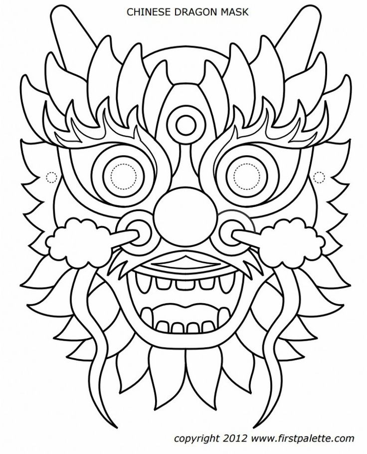 Dragon Mask Coloring Page - youngandtae.com | Chinese new ...