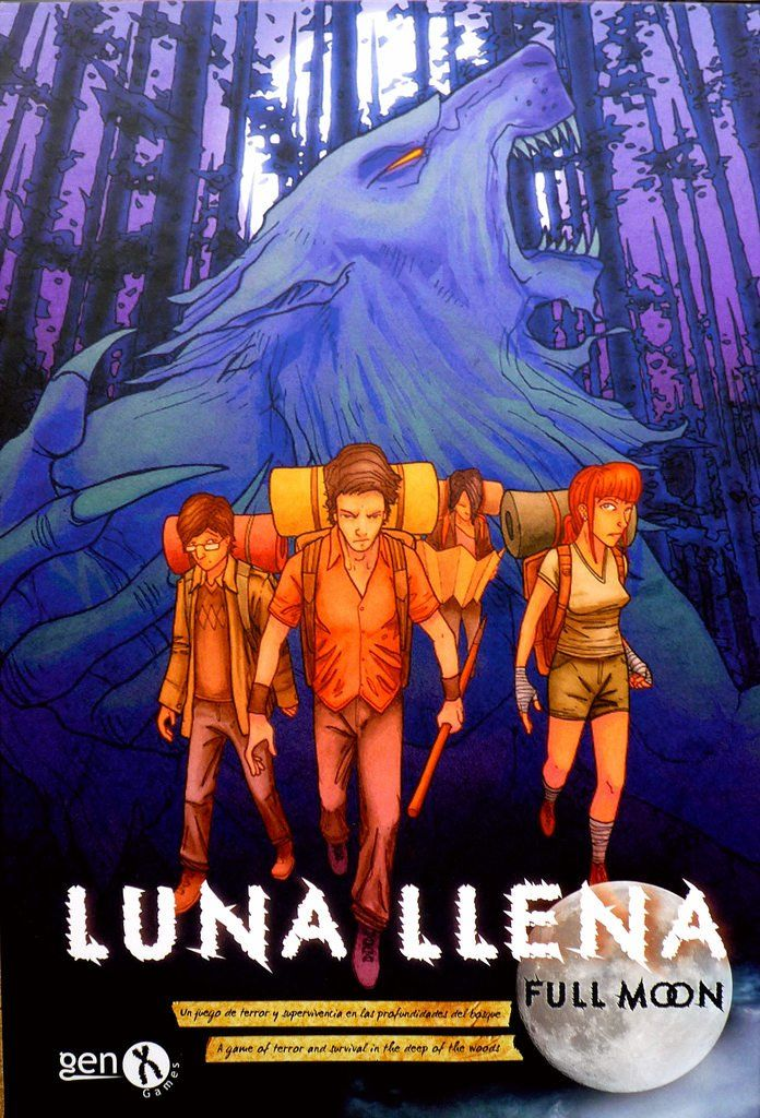 Luna Llena- Board Game, it's a semi-cooperative horror-survival game for 2-7 players. There are two sides: Werewolves and Humans. The game starts after the Human hikers have spent the night at Aguirre's Forest, and find two of their party missing. The humans must find the Wolves' cave, rescue prissoners and find their way out of the cursed forest in order to win.