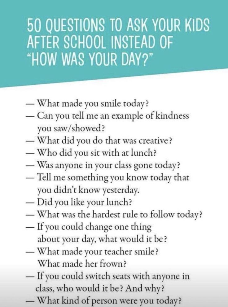 These are pretty good conversation starters for parents to