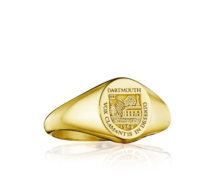 The officially licensed Dartmouth oval ring by Signitas is beautifully engraved with the college herald, and is exquisitely crafted in your choice of yellow or white gold (10K, 14K, 18K) or sterling silver.  Personalize your ring with free engraving. Purchase today!