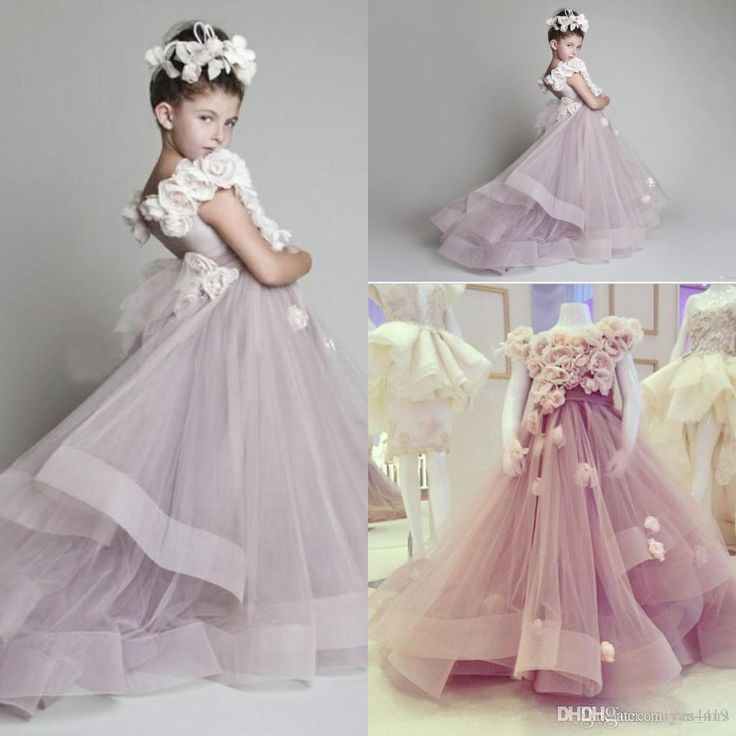 2016 Cheap Fairytale Flower Girls Dresses For Weddings Lavender Hand Made Flowers Sashes Tulle Party Princess Children Girl Pageant Gowns Online with $85.87/Piece on Yes_mrs's Store | DHgate.com