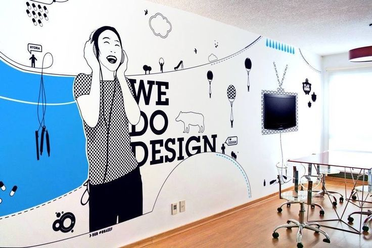 Your workspace interior says a lot about what you do and what you're passionate about. We love this wallpaper design.