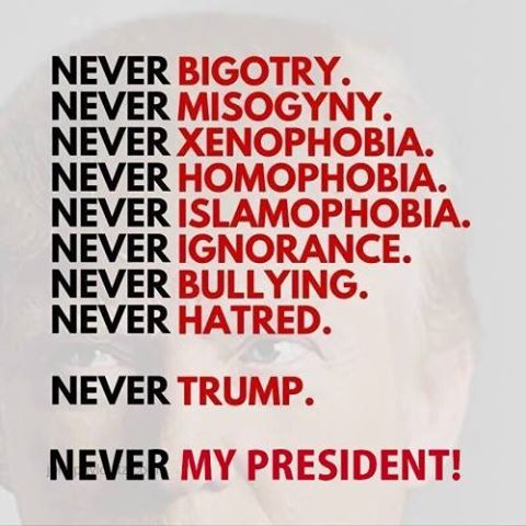 Donald Trump will never be my president. He won't be. He does not have my best interests at heart, nor the interests of my friends and family. This egotistical bigoted pig will never, ever be a leader to me. Only a puppet put in a place of power to harm the ones who will be left with his policies and damage to control years later.
