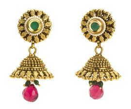 Stylish #polki #jhumka #earrings. Excellent choice for any ceremony: diwali, friend's house-warming, puja at aunt's place! shop at buybejeweled.in