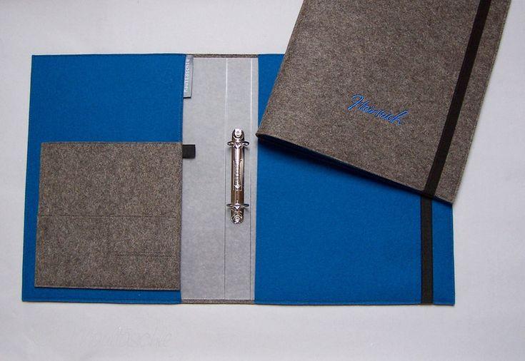 Ordner & Ordnerrücken - Organizer A4 Ringbuch mit Filzhülle Wunschname - ein Designerstück von Maultaeschle-bw bei DaWanda