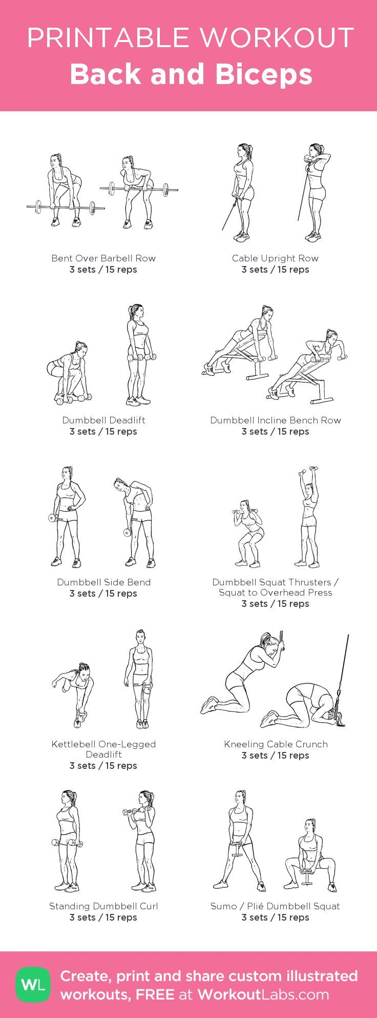 Back and Biceps –my custom workout created at WorkoutLabs.com • Click thro…, #Biceps #Clic…