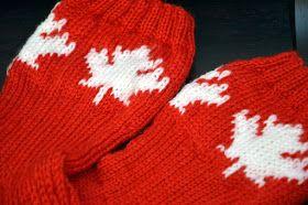 Kudoin vähän yli vuosi sitten lapaset,  joissa oli Kanadan lipun värit ja lehti. Nyt näille lapasille tuli seuraksi sukat, joissa on sama...