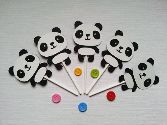 Panda Cupcake Toppers Set of 12 by CuteThingsbyTing on Etsy